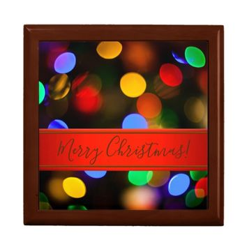 Multicolored Christmas lights. Add text or name. Gift Box