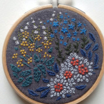 British Wildflowers - Embroidery Hoop Art - 3 inches diameter