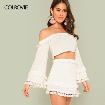 39ffdfa1e051 COLROVIE White Off the Shoulder Tassel Trim Crop Top and Skirt S