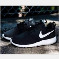 NIKE Women Men Running Sport Casual Shoes Sneakers Black White(white soles)