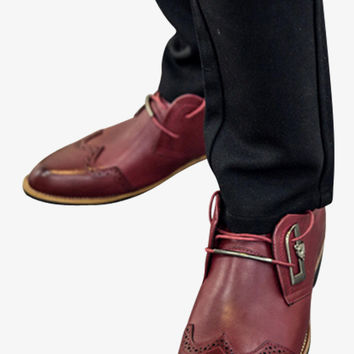 Brogue Pointed Dress Loafers In Burgundy