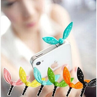 Earphone Limited Dust Plug Dachshund New Cute Colorful Rabbit Ear Bowknot Dustproof Plug Caps Cell Phone Accessories