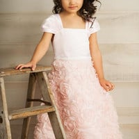 Pink Organza Ribbon Flowers & Matte Satin Dress with Pleated Cap Sleeves (Girls Sizes 2T - 14)