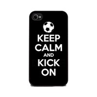 Keep Calm and Kick On - Soccer - iPhone 4 or 4s Cover, Cell Phone Case - Black