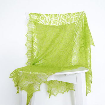 Lime Green Silk / Mohair Shawl