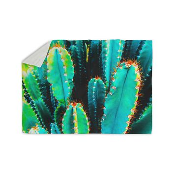 """mmartabc """"Desert Cactus Colorful"""" Blue Green Nature Travel Photography Painting Sherpa Blanket"""