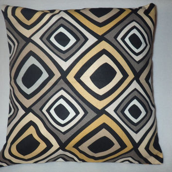 Decorative Pillow Cover, Throw pillow Cover Single 16 x 16 Black, White, Gray, and Mustard Design Geometric Design