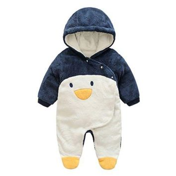 Infant Cotton Rompers One-pieces Thick Jumpsuits 0-3-6 months penguin 59cm