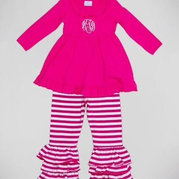 Princess Linens Pink Monogram Dress & Stripe Pants - Infant, Toddler & Girls
