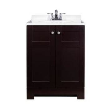 Shop Style Selections Espresso Integral Single Sink Bathroom Vanity with Wood Top (Common: 25-in x 19-in; Actual: 24.5-in x 18.75-in) at Lowes.com
