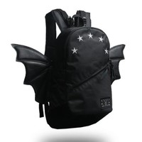 CrazyPomelo Trendy Bat Wings Canvas Large Travelling Backpack (Black)