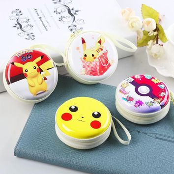 ship!1ot=12pc! cartoon round tin Iron box /small pouch / key purse / wallet/children gift/steel case/ storage boxKawaii Pokemon go  AT_89_9