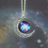 Nebula Galaxy Cabochon Necklace, Bib Necklace, Charm Necklace,Moon necklace, Galactic Cosmic Moon Necklace