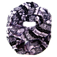 Trendy Aztec Scarf Teen Tube Scarf Tribal Infinity Eternity Double Loop Scarf Periwinkle Black Cute Womens Teens Fashion Scarves