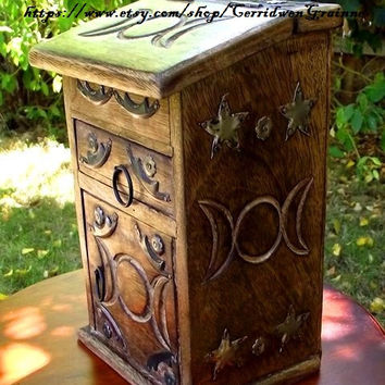 Herb Cupboard, Triple Moon Goddess, Apothecary Chest, Carved Wooden Chest, Witch Box, Witches Cupboard, Wiccan, Pagan, Altar Chest