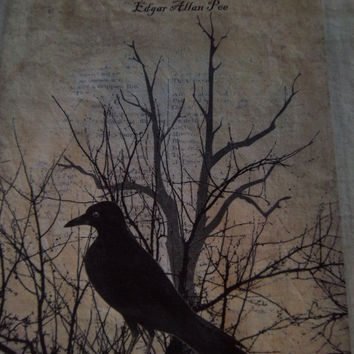Fabric supplies Edgar Allen Poe fabric panel grungy cotton quilt block scrapbooking art journal  raven crow blackbird decoration art block