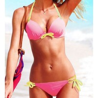 Pink Blends Ladies Sexy Halter Beach New Style Bowknot Hot Girl Sexy Bikini S/M/L SY40468-49p $0.00 in eFexcity.