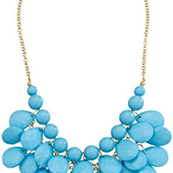 Turquoise Colored Large Teardrop Cluster Bib Statement Necklace, 19""