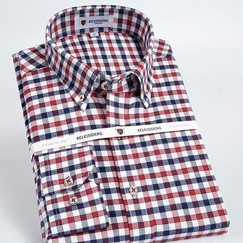 Men's Long Sleeve Button-down Check Patterned Top Shirts High-quality Smart Casual Slim-fit Contrast Plaid Brushed Flannel Shirt