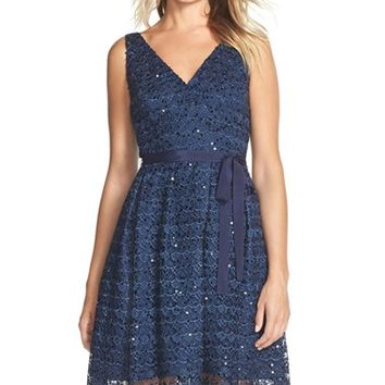 Women's Adrianna Papell Sequin Lace Fit & Flare Dress,