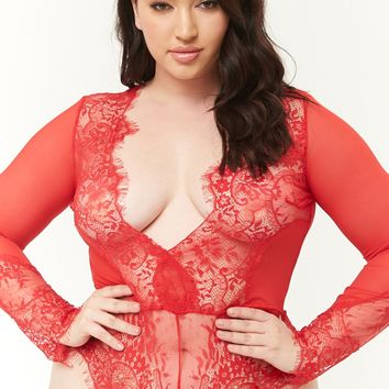 Plus Size Sheer Mesh Teddy