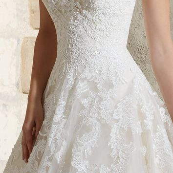 Strapless Lace Ballgown by Bridal by Mori Lee