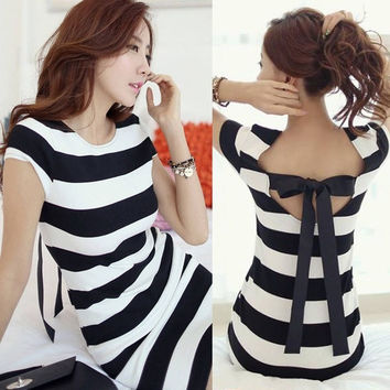Summer Women Cap Sleeve Backless Bowknot Striped Slim Fit Package Hip Mini Dress   SV007871