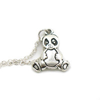 Panda Bear Necklace, Charm Necklace, Charm Jewelry, Panda Necklace, Silver Bear Jewelry, Jewelry Gift, Gift Under 20