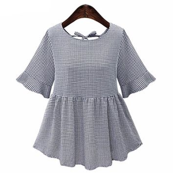 Women Gray Color Gingham O Neck Shirts Short Sleeve Backless Blusas Tops Casual Wear