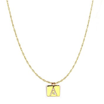 "14k Yellow Gold  Initial Letter Pendant Adjustable Necklace, 16"" To 18"""