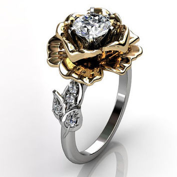 14k two tone white and yellow gold diamond unusual unique floral engagement ring, bridal ring, wedding ring ER-1032-4