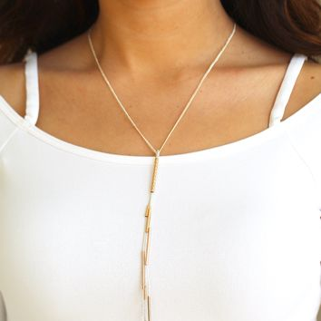 Two Tone Y Long Necklace
