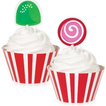 Christmas - Candy Cane Stripe Cupcake Wrappers - 24 Units