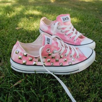 coral pink tie dye studded converse all star sneakers