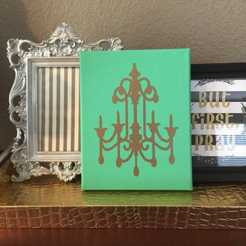 Custom hand painted Mint green canvas gold Chandelier canvas 8 x 10 canvas wall art nursery decor gallery wall art nursery decor baby shower