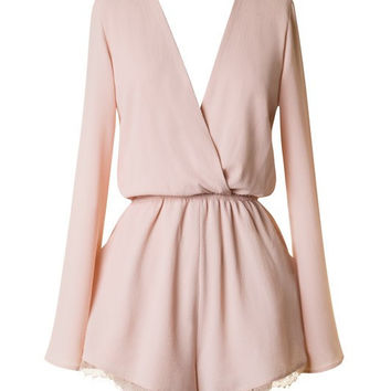 SHORT & SWEET LACE TRIM ROMPER - BLUSH