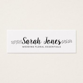 Calligraphy With Flourish Floral Arranger Mini Business Card