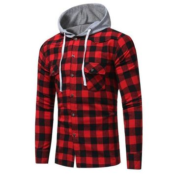 Men Check Plaid Casual Buttons Hoodies Long Sleeve Slim Fit Hooded Shirt Tops
