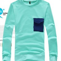 New Autumn or Winter Scoop Fashion Casual Pure Cloth Cotton Blue Male Apparel M/L/XL@SJ95518bl $21.69 only in eFexcity.com.
