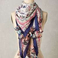 Serenella Silk Scarf by Anthropologie in Navy Size: One Size Scarves