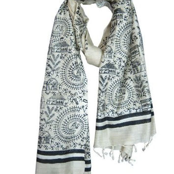 Indian Yoga Stole- Ivory Black Tribal Print Scarf Wrap Shawl India