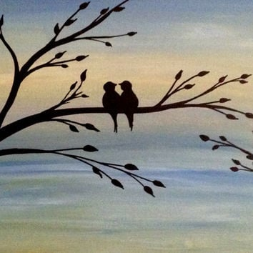 Love Birds Acrylic Painting Canvas Art Bird Lover Christmas Gift Silhouette Acrylic Painting On Canvas Wall Decor Forever And Always