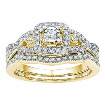 10kt Yellow Gold Women's Round Diamond Twist Bridal Wedding Engagement Ring Band Set 1/4 Cttw - FREE Shipping (US/CAN)