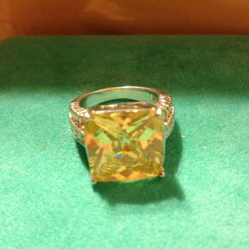Huge RING 10 CT Carat Yellow Citrine CZ 925 Sterling Silver Size 7 Emerald Cut Sparkly Vintage Cubic Zirconia Engagement Cocktail Wedding