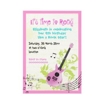 Rock star girly electric guitar birthday announcement from Zazzle.com
