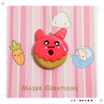 Strawberry Creature Donut Pendant Polymer Clay Kawaii
