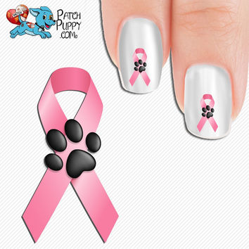 Breast Cancer Awareness Ribbon with Paw Print Nail Art Decals (Now! 50% more FREE)