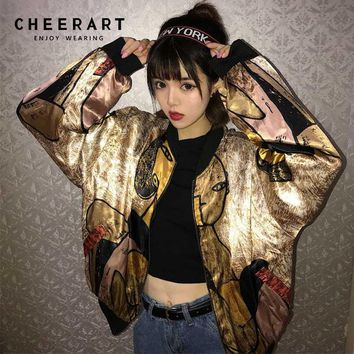 Cheerart Harajuku Gold Jacket Print Satin Jacket Loose Designer Coats Glitter Thin Baseball Jacket Streetwear Autumn 2018