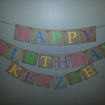 Custom Name HAPPY BIRTHDAY Banner ,  Bright Colors , Birthday Banner , Birthday Party Decor , Birthday Decoration , Party Decoration