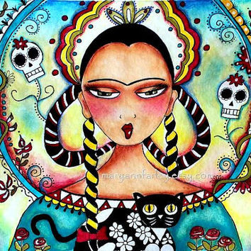 Day of the Dead Mexican Girl Art Print, Mexican Art,Girl and Cat, Watercolor Mixed Media, Original Art Print, 8 x 10